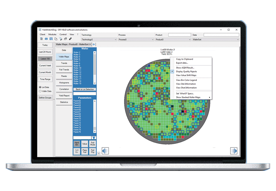 Analyze Wafer Maps with YieldWatchDog's Advanced Quality Module to ensure highest product quality