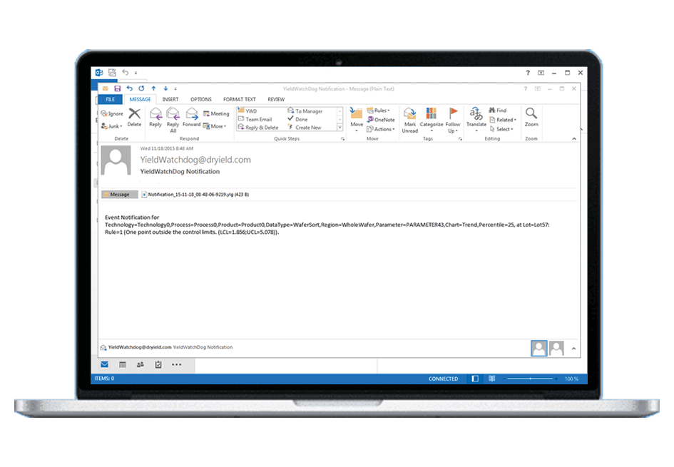 Reviewing notification email of data anomalies sent by YieldWatchDog