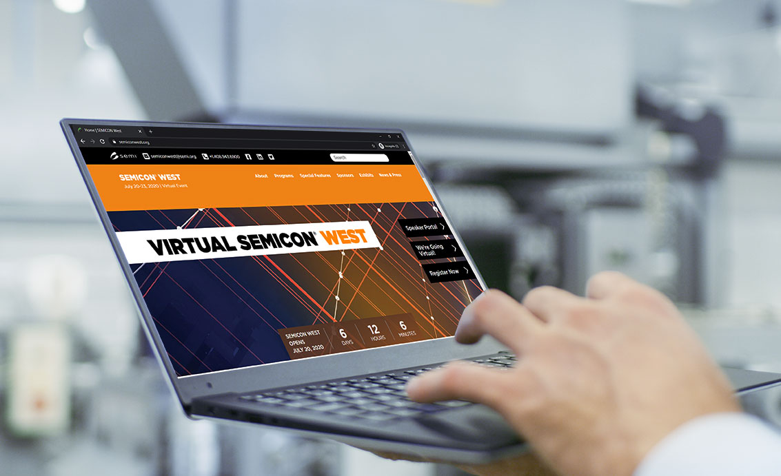 Man signing up for virtual conference Semicon West 2020